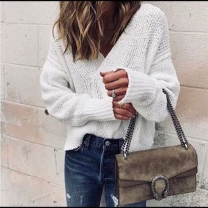 FREE PEOPLE Winter White Knitted Cropped Sweater